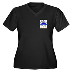 Peil Women's Plus Size V-Neck Dark T-Shirt