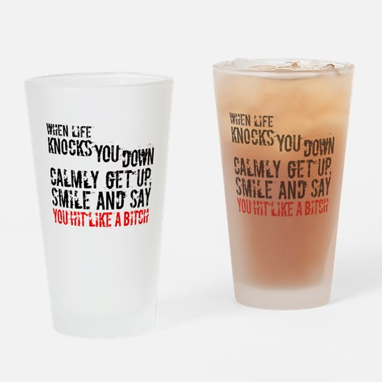 Unique Hard knocks Drinking Glass