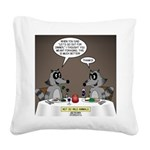 Raccoon Dining Square Canvas Pillow