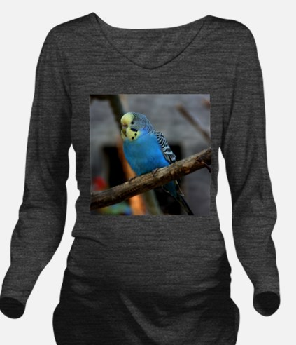 Budgie Flower Long Sleeve Maternity T-Shirt