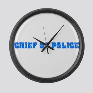 Chief Of Police Blue Bold Design Large Wall Clock