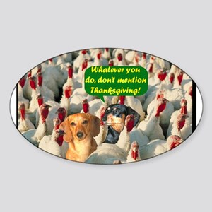Thanksgiving Turkeys Dogs Oval Sticker