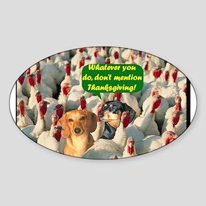 Thanksgiving Turkeys Dogs Oval Sticker