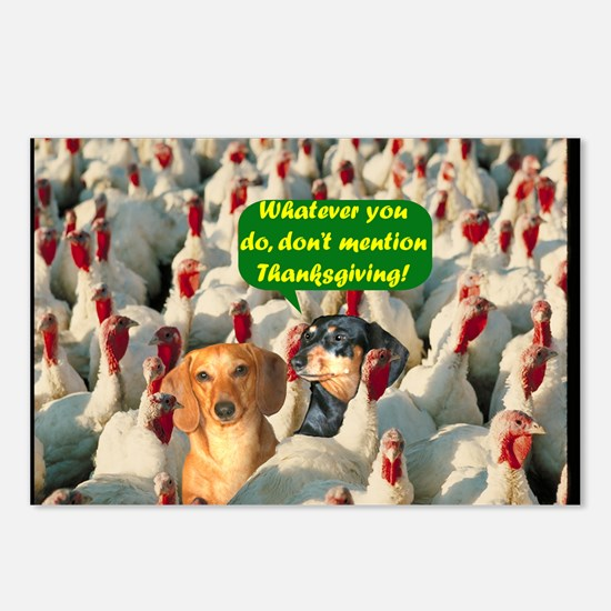 Thanksgiving Turkeys Dogs Postcards (Package of 8