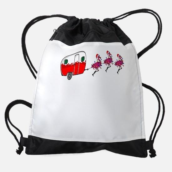 Santa's RV Sleigh Flamingo Rein Drawstring Bag
