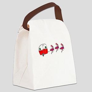Santa's RV Sleigh Flamingo Re Canvas Lunch Bag
