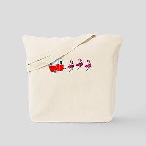 Santa's RV Sleigh Flamingo Reindeer F Tote Bag