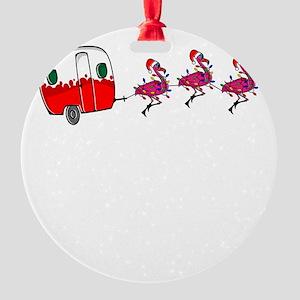 Santa's RV Sleigh Flamingo Rein Round Ornament