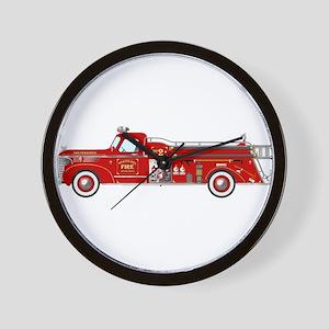Fire Truck - Vintage fire truck. Wall Clock