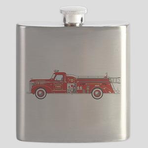 Fire Truck - Vintage fire truck. Flask
