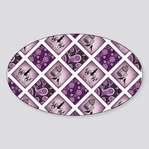 CRAZY QUILT Sticker (Oval)