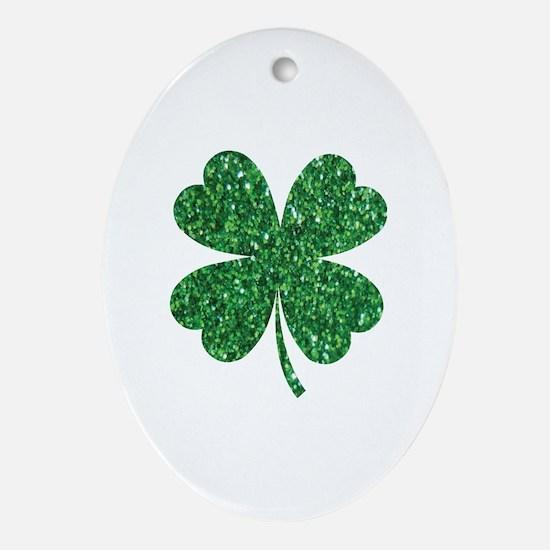 Cute Irish shamrock Oval Ornament