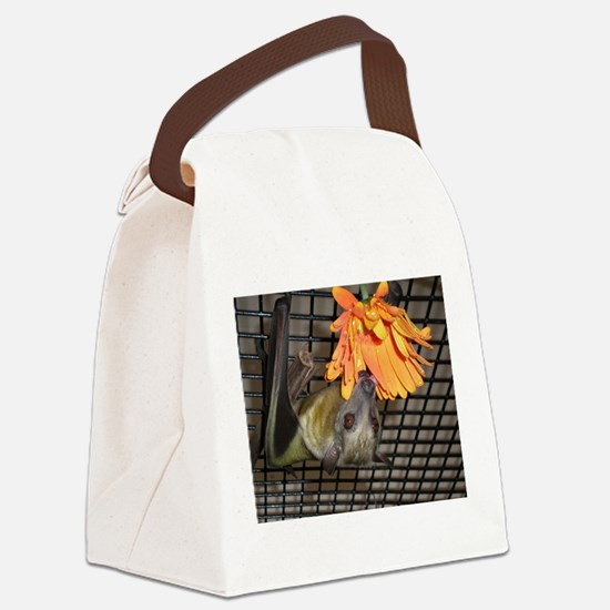 Fruit bat with flower Canvas Lunch Bag