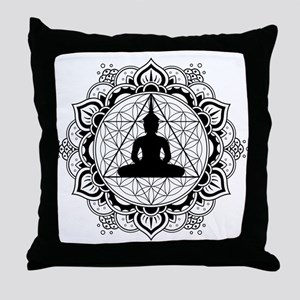 Buddha Meditating Sacred Geometry Mandala Throw Pi