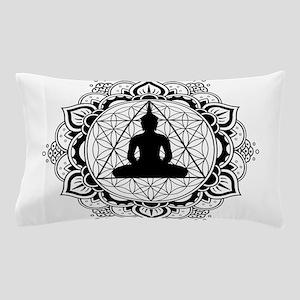 Buddha Meditating Sacred Geometry Mandala Pillow C