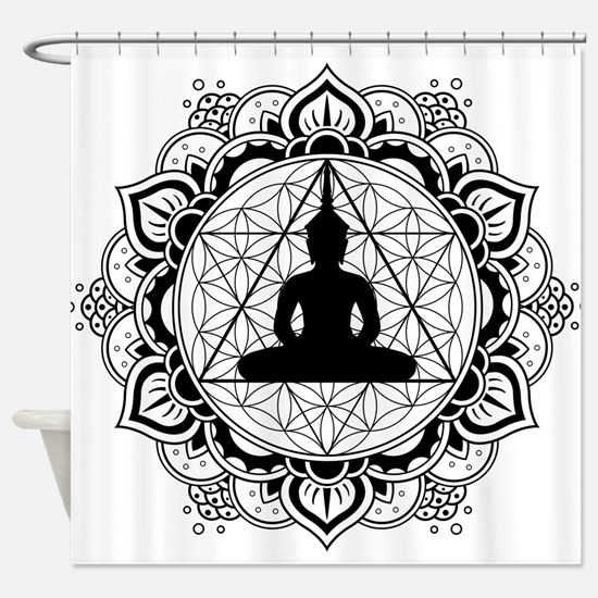 Buddha Meditating Sacred Geometry Mandala Shower C