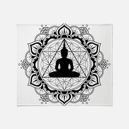 Buddha Meditating Sacred Geometry Mandala Throw Bl
