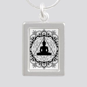 Buddha Meditating Sacred Geometry Mandala Necklace