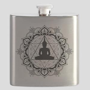 Buddha Meditating Sacred Geometry Mandala Flask