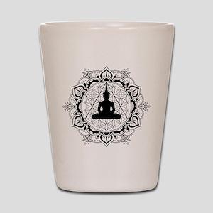 Buddha Meditating Sacred Geometry Mandala Shot Gla