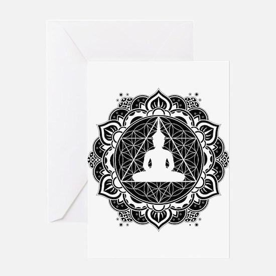Buddha Meditating Sacred Geometry Mandala Greeting