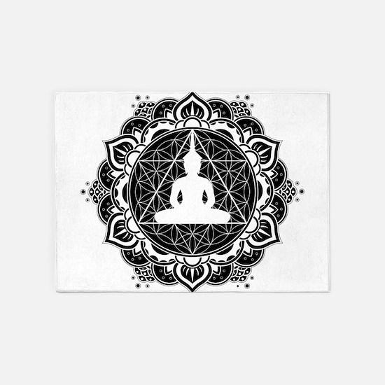 Buddha Meditating Sacred Geometry Mandala 5'x7'Are
