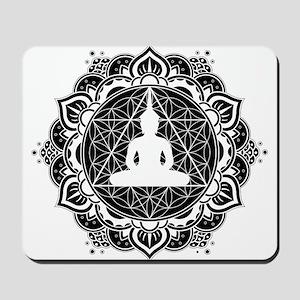 Buddha Meditating Sacred Geometry Mandala Mousepad