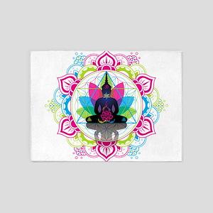 Buddha Meditating Sacred Geometry Mandala ohm 5'x7