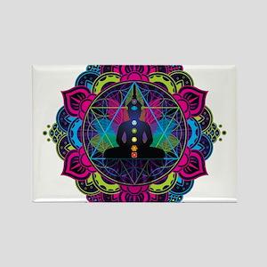 Buddha Meditating Sacred Geometry Mandala Magnets