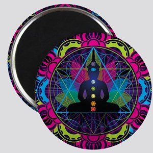 Buddha Meditating Sacred Geometry Mandala Magnets