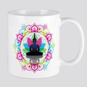 Buddha Meditating Sacred Geometry Mandala Mugs