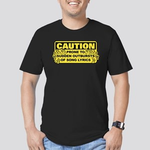 Caution Prone To Sudde Men's Fitted T-Shirt (dark)