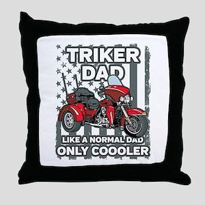 Motorcycle Triker Dad Throw Pillow