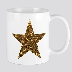 gold glitter star Mugs