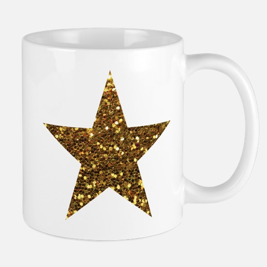 gold glitter star Mugs