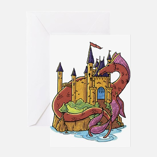 Dragon and Castle Greeting Cards