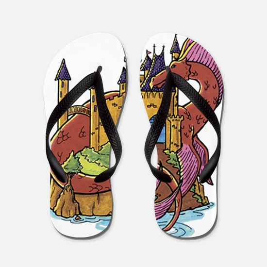 Dragon and Castle Flip Flops