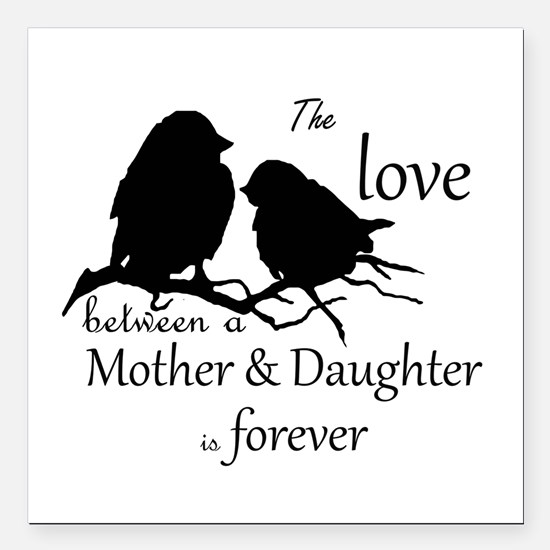"""Mother Daughter Love Square Car Magnet 3"""" X 3"""