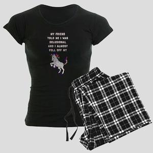 I Almost Fell Off My Unicorn Women's Dark Pajamas