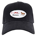 I Love Horses Black Cap