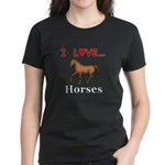 I Love Horses Women's Dark T-Shirt