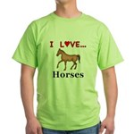 I Love Horses Green T-Shirt