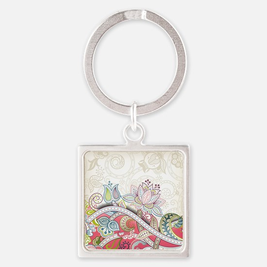 Abstract Floral Keychains