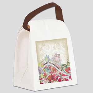 Abstract Floral Canvas Lunch Bag