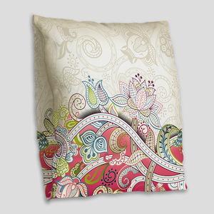 Abstract Floral Burlap Throw Pillow