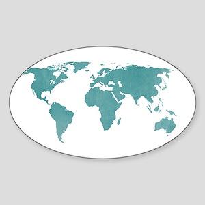 Aquamarine World Map Sticker