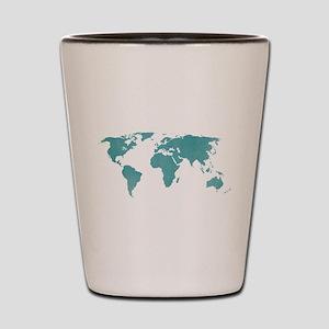 Aquamarine World Map Shot Glass