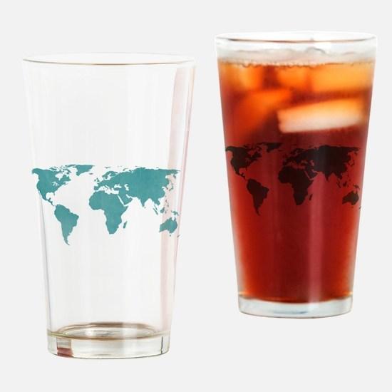 Aquamarine World Map Drinking Glass