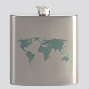 Aquamarine World Map Flask
