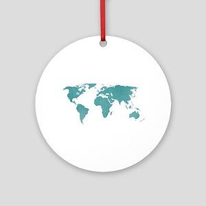 Aquamarine World Map Round Ornament